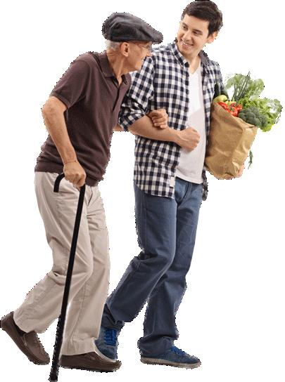 Junger Mann hilft älterem Mann mit Einkäufen
